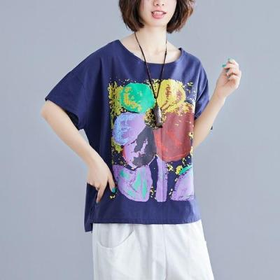 Woman Cotton Linen Tee Shirt Women Round Neck Short Sleeve Tops