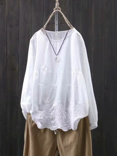 Loose Long Sleeve Hollow Out Embroidery Crew Neck Shirt