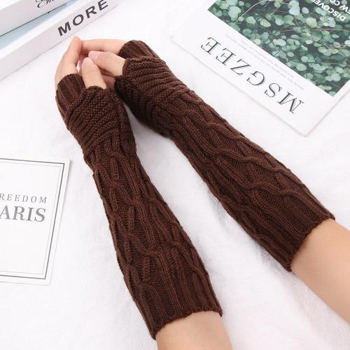 Casual Winter Knitted Fingerless Gloves Unisex Semi-Long Gloves
