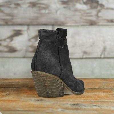 Suede Western Booties V-Open Ankle Boot