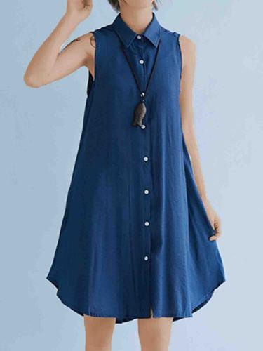 Plus Size Women Solid Sleeveless Linen Loose Casual Midi Vest Shirt
