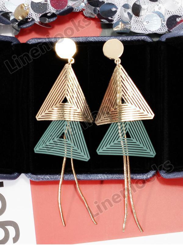 Double Triangle Geometric Drop Earrings for Women Gold Chain Tassel Long Earring