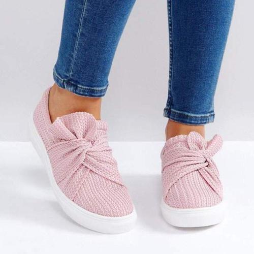 Women Knitted Twist Pink Slip On Sneakers