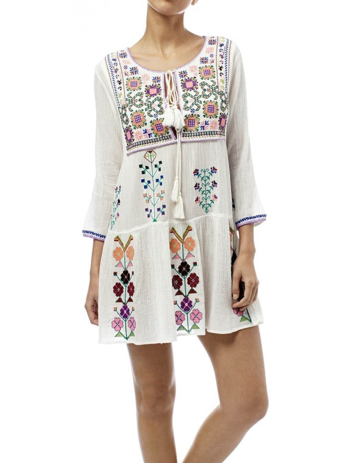 White Floral Floral-Print Boho Dresses