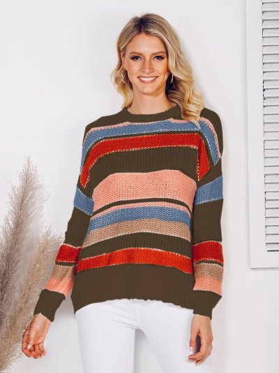 Casual Color-Block Long Sleeve Shift Crew Neck Sweaters