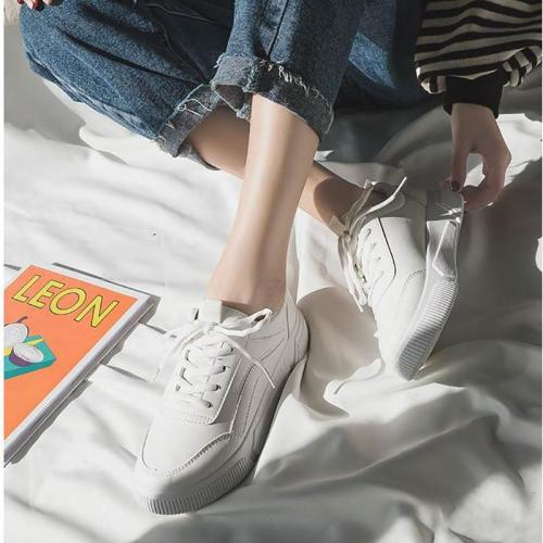 Contracted Style Lace-Up Pure Color Flat Sneakers