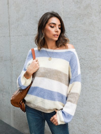 Multicolor Gradient Casual Long Sleeve Crew Neck Sweaters