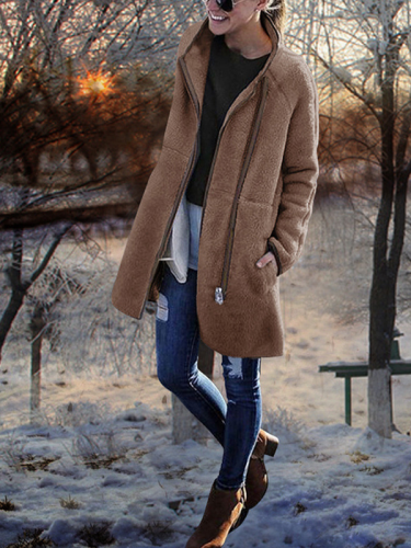Stand Collar Patchwork Long Sleeve Coat