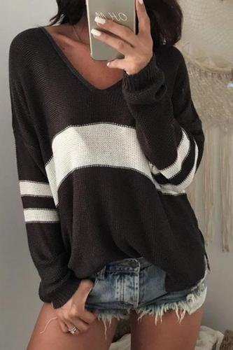 Fashion V Neck Striped Sweater