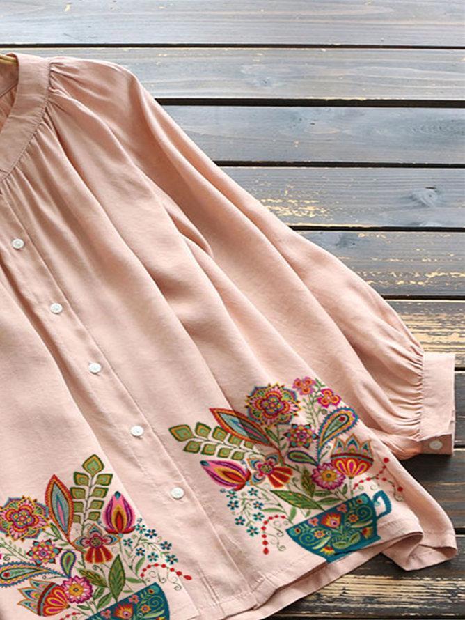 Pink Pastoral Floral Shirts & Tops