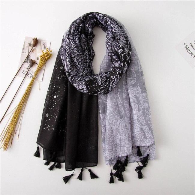 New Style Cotton Linen Winter Printed Scarf Women Versatile Silk Scarves-Style Headscarf Shawl Blanket Scarf