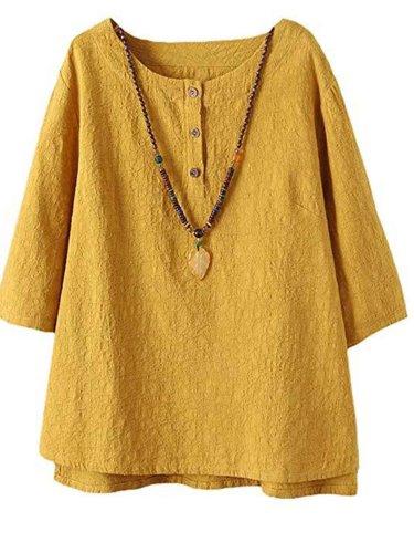 Half Sleeve Cotton-Blend Asymmetrical Casual Shirts & Tops