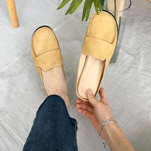 Women PU Slip On Panel Summer Flats Slippers Shoes