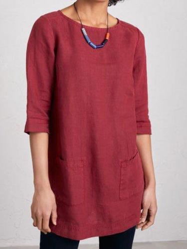 Pockets 3/4 Sleeve Solid Shirts & Tops