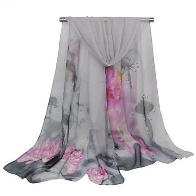 New Ladies Scarves Lotus Oil Painting Shawls Georgette Printed Silk Printed Flower Pashmina