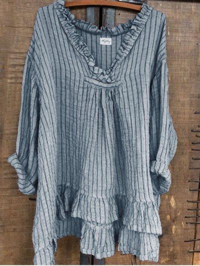 Sweet Long Sleeve V Neck Asymmetrical Shirts