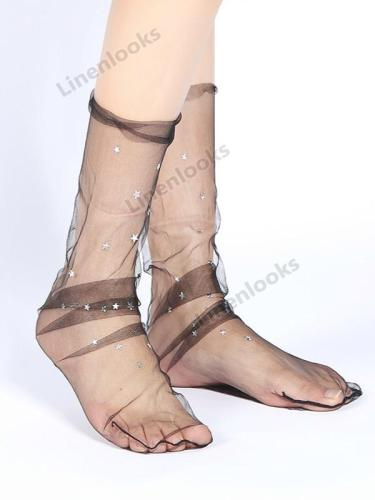 Thin Shiny Star Net Stockings Female Sweet Yarn Socks
