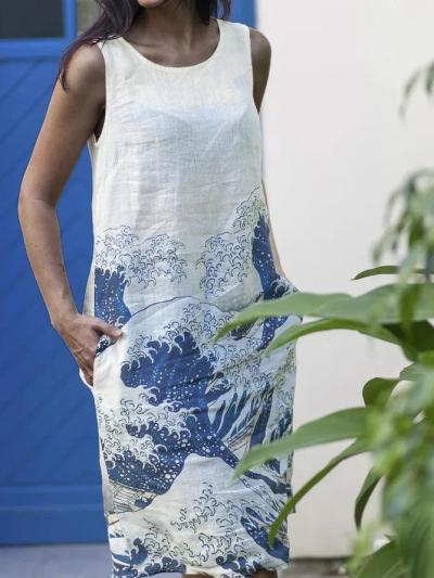 Wave Print Crew Neck Sleeveless Linen Dress