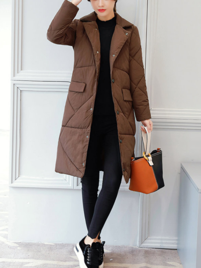 Women Appliqued Solid Stand-Up Neck Long Sleeve Cotton Coats