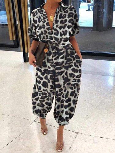 Short Sleeve V Neck Leopard Printed Jumpsuits