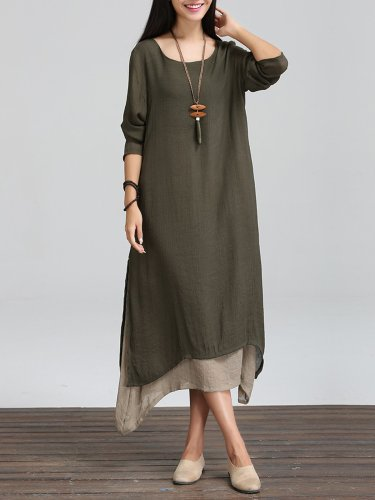 Long Sleeve Linen Cotton Crew Neck Casual Plus Size Dress