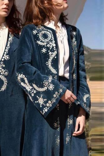 Women's Elegant Printed Color Long Sleeve Cardigan Coat