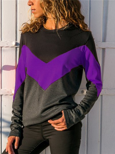 Polyester Casual Paneled Crew Neck T-Shirt
