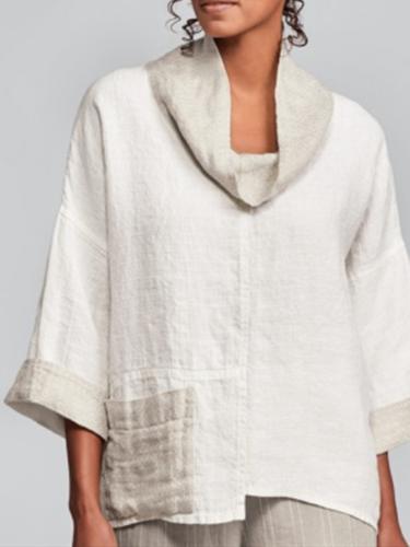 White 3/4 Sleeve Plain Shift Linen Shirts & Tops