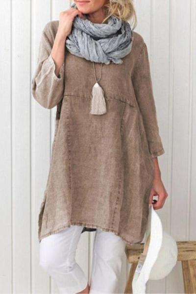 3/4 Length Sleeves Slit T-shirt Plus Size