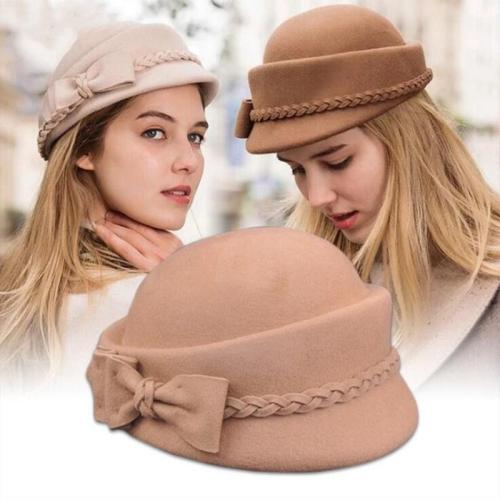 Wool Felt Fedora Wedding Hats Women Bow Berets Caps
