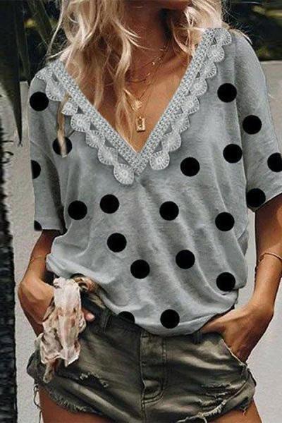 Lace Trim V Neck Short Sleeves Polka Dot T-shirt