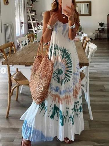 White Sleeveless Ombre/tie-Dye A-Line Cotton Dresses