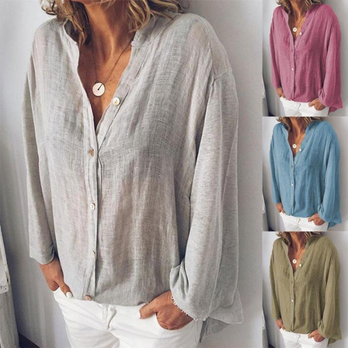 Long Sleeve Cardigan Casual Cotton Shirt