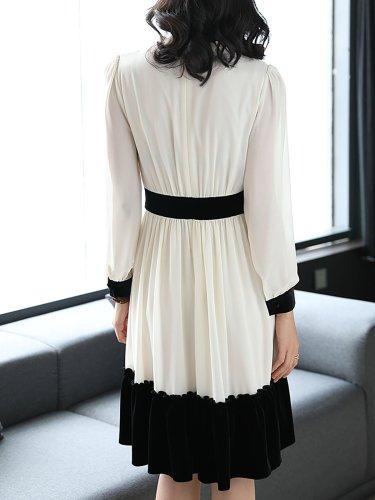 White Chiffon Elegant Ruffled Midi Dress