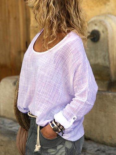 Linen Long Sleeve Sweet Shirts & Tops