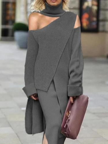 Finalpink Fashion High Collar Off Shoulder Grey Irregular Knit Top