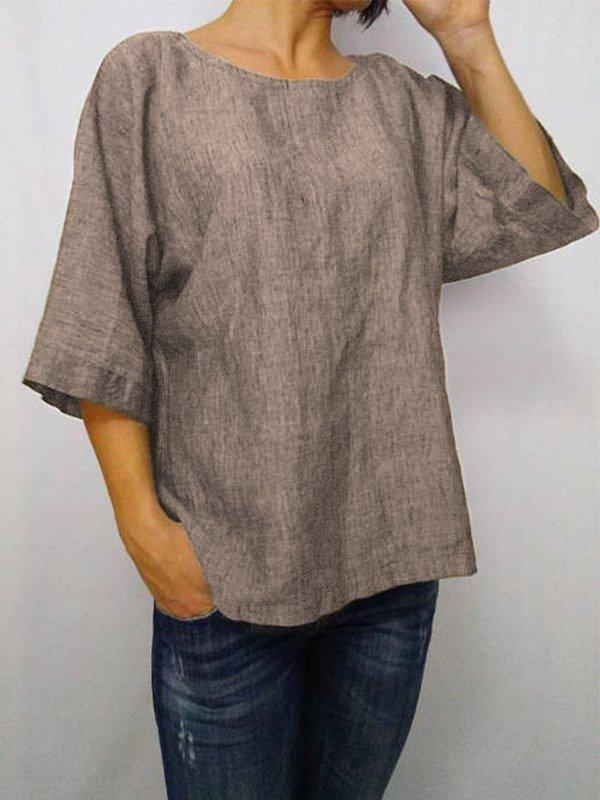 Casual Solid 3/4 Sleeve Round Neck Plus Size Tops