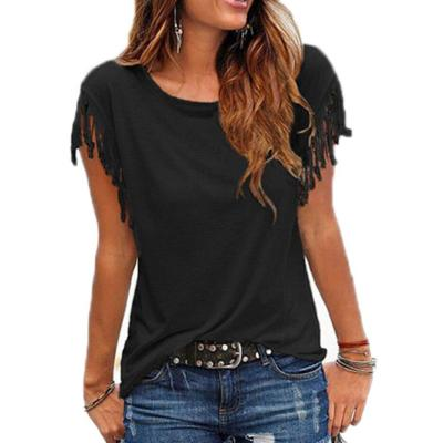 Cotton Tassel Casual Blouse Shirt 2020 Female Sleeveless Tees O-neck Women's Clothing Shirt Plus Size Tops