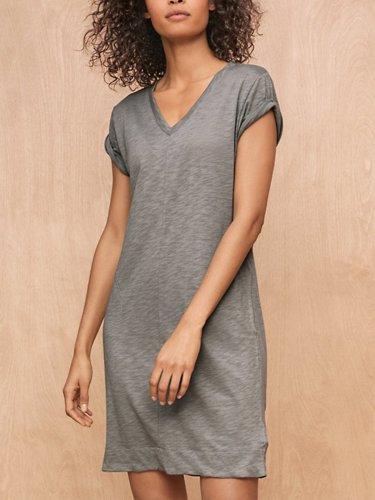 3/4 Sleeve V Neck Solid Dresses
