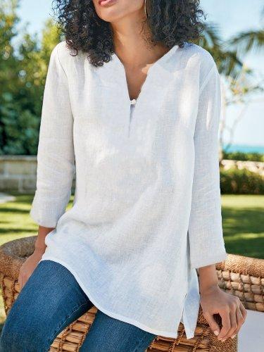 Plain Casual Soft Linen Shirts & Tops