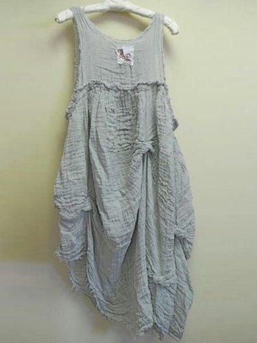 Linen Casual Crew Neck Dresses