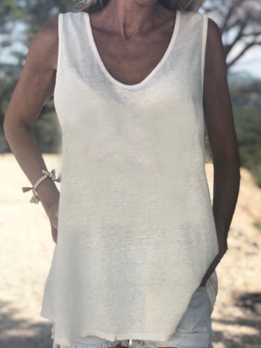 Sleeveless V Neck Cotton Solid Shirts & Tops