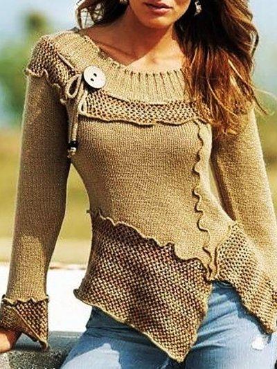 Crew Neck Shift Long Sleeve Sweater