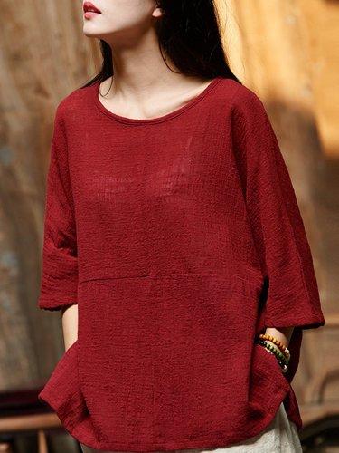 Cotton Linen Paneled Casual T-Shirt