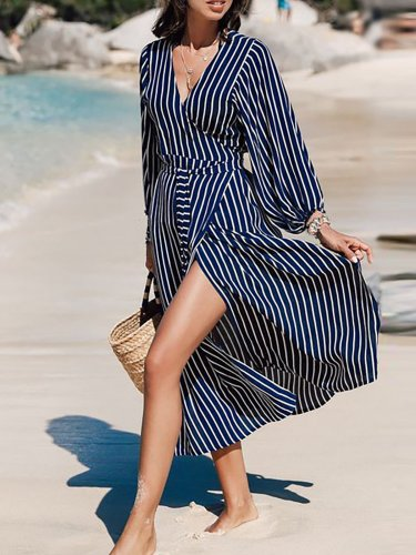 V Neck Basic Paneled Beach Dress