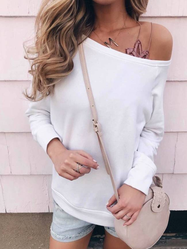 White Casual One Shoulder Long Sleeve Shirts & Tops
