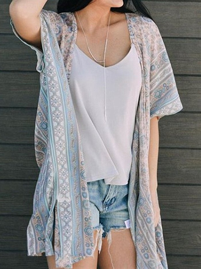 Blue Bohemia Style Summer Holiday Blouse Suit