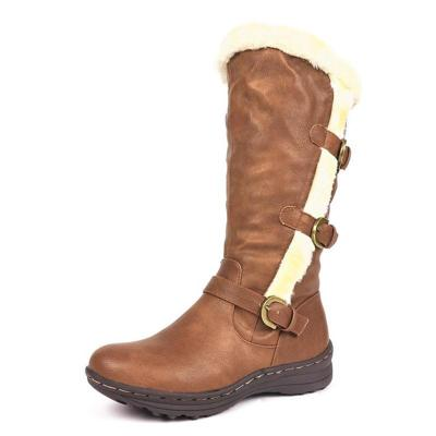 Women Round Toe Snow Boots Pu Casual Chunky Heel Shoes