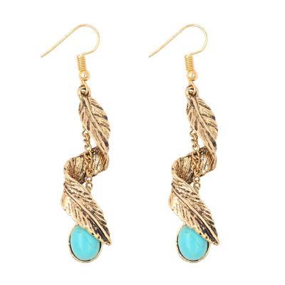 Boho Ethnic Green Resin Stone Drop Dangle Earrings for Women Tribal Vintage Earrings