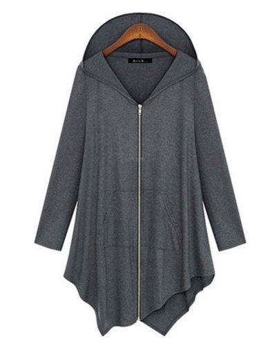 Long Sleeve Hoodie Cotton Casual Asymmetric Zipper Hoodies